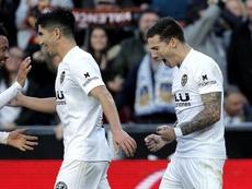El Valencia por fin celebró un triunfo en Mestalla. EFE