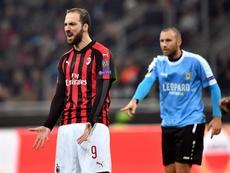 Gonzalo Higuaín salió al paso de los rumores que le sitúan lejos del Milan. EFE/Arhcivo