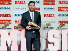 Messi recibió su quinta Bota de Oro. EFE