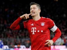 Robert Lewandowski fez o primeiro gol contra o FC Schalke 04 em Munique. EFE/EPA
