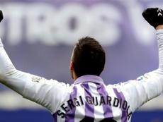 El delantero del Real Valladolid ha entrado en la historia del club. EFE