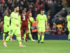 Messi fue el encargado de dar la charla antes del desastre de Anfield. EFE