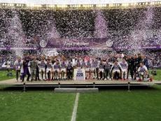 El Valladolid celebró la permanencia en Primera. EFE