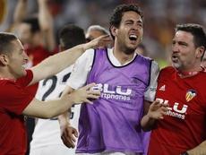 Parejo elogió a la afición en la fiesta de Mestalla. EFE