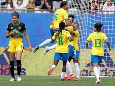 Cristiane marcou os três gols da vitória contra a Jamaica. EFE/EPA
