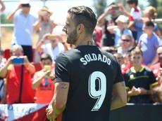 La simbiosis de gol entre el Granada y Soldado. EFE