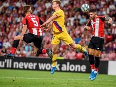 Yeray y Unai Núñez disputaron el partido ante el Barcelona. EFE/Javier Zorrilla