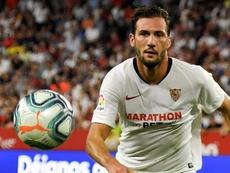 Otro paso más del 'Mudo' en la historia del Sevilla. EFE/Raul Caro Cadenas
