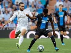 Emmanuel Dennis hizo un doblete en el Bernabéu. EFE