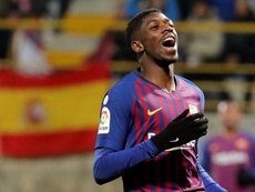 Dembele will get treatment on his injury in Qatar. AFP