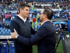 Bordalás dedicó la victoria a la afición. EFE/Kiko Huesca