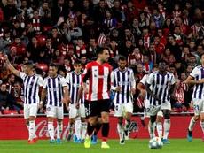 Felicidad en el Valladolid al margen del partido ante el Alavés. EFE