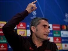 El técnico del Barcelona, Ernesto Valverde, durante la rueda de prensa previa al partido de la Liga de Campeones contra el Slavia de Praga. EFE/Alejandro García