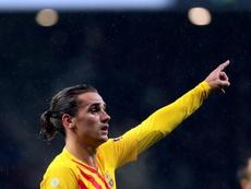 Griezmann falou sobre o trio ofensivo do Barça. EFE/Juanjo Martín