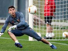 Cristian Rivero ya ha jugado tres partidos con el primer equipo este curso. EFE