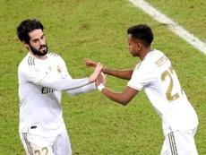 Rodrygo, eufórico após a conquista do Real Madrid. EFE/Juanjo Martín