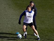 Nelson Vivas dirigió el entrenamiento sin Simeone. EFE