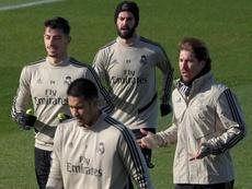 El Madrid, con Ramos pero sin Bale en el entrenamiento. EFE