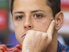 Chicharito tiró de las orejas a su equipo. EFE/Maja Hitij/Archivo