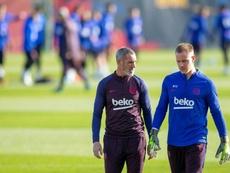 Ter Stegen sublimó el fútbol con los pies en Mallorca. EFE