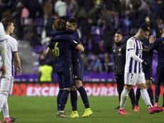 El gol se reparte en el Real Madrid. EFE / José C. Castillo