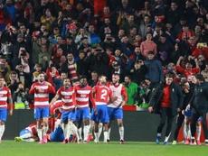 La afición del Granada quiere seguir soñando con la Copa del Rey. EFE