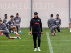 Joao Félix, Herrera y Trippier, con el grupo. EFE