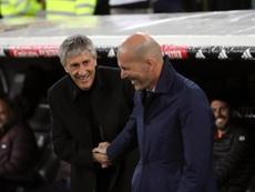 Zidane parle de Sarabia, l'adjoint de Setién. EFE