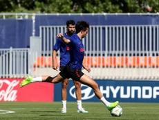 João Félix sofreu entorse no joelho direito. EFE/Atlético de Madrid
