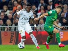 Vinicius est heureux d'avoir marqué un but. EFE