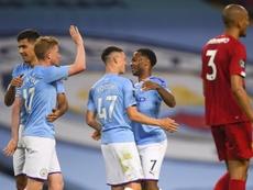 City foi soberano em campo e venceu os campeões por 4 a 0. EFE/EPA/Laurence Griffiths/NMC