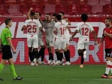 Sevilla garantiu sua vaga na Champions League 2020-21. EFE/Julio Muñoz
