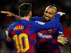 Le Barça fait ses adieux à Vidal. EFE