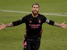 Ramos after scoring against Betis. EFE