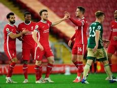 Liverpool saiu atrás no placar, mas conseguiu a virada. EFE/EPA/Stu Forster