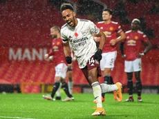 Aubameyang marcou o gol da vitória do Arsenal sobre o Manchester United. AFP