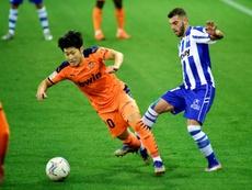 Kang-In Lee se marchó del entrenamiento. EFE/Jon Rodríguez Bilbao