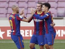 Barcelona venceu o Osasuna por 4 a 0 com direito a golaços de Griezmann e Messi. EFE