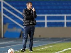 Coudet, feliz por la poca aparición ofensiva del Athletic. EFE/Ernesto Guzmán