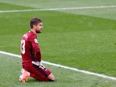 Aitor, orgulloso pese a la derrota en el Camp Nou. EFE/Archivo