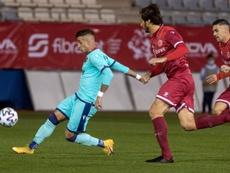 Sergio León marca en Liga tras un año y medio en blanco. EFE/Marcial Guillén