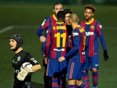 Barcelona perdeu dois pênaltis contra o Cornellá. EFE/ Enric Fontcuberta