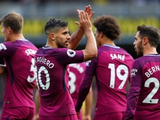 Aguero scored a hat-trick in Man City's 6-0 win over Watford on Sunday. Twitter/ManCity