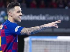 Aicardo, lesionado, se perderá los tres próximos partidos. Twitter/FCBfutbolsala