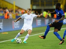Albrighton (L) scored Leicester's first ever goal in the Champions League. LCFC