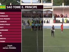'Iniesta' y 'Pogba', en la selección de Santo Tomé y Príncipe. Captura/FIFATV