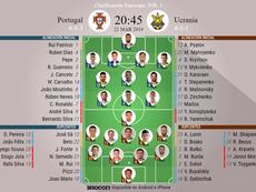 Alineaciones de Portugal y Ucrania para el partido de Clasificación a la Eurocopa. BeSoccer