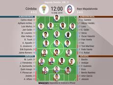 Alineaciones confirmadas de Córdoba y Rayo Majadahonda. BeSoccer