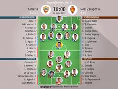 Onces del Almería-Zaragoza. BeSoccer