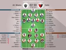 Alineaciones confirmadas del Atlético Mineiro-Colón. BeSoccer